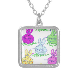 Polka dot bunnies silver plated necklace