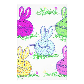 Polka dot bunnies stationery