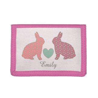 Polka Dot Bunnies Tri-fold Wallet