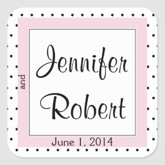 Polka Dot Butterfly Posh Wedding Envelope Seal Square Sticker