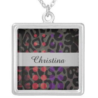 Polka-dot Cheetah Silver Plated Necklace