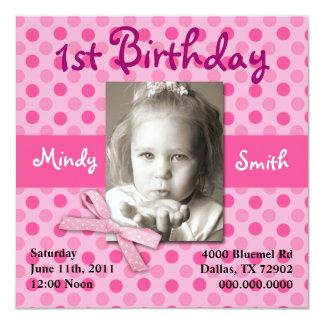 Polka Dot Child Birthday Invite (Girl)