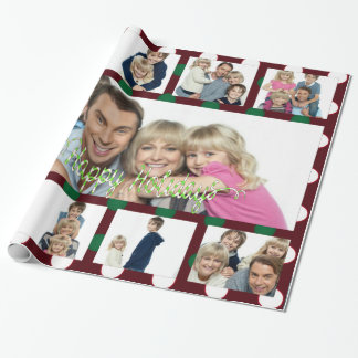 Polka Dot Christmas Personalised 9Picture Collage Wrapping Paper
