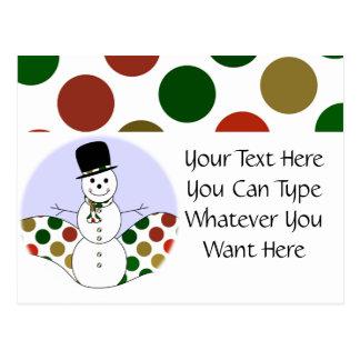 Polka Dot Christmas Snowman Post Card