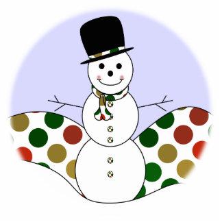 Polka Dot Christmas Snowman Standing Photo Sculpture
