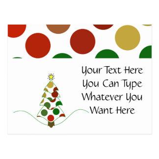 Polka Dot Christmas Tree Postcard