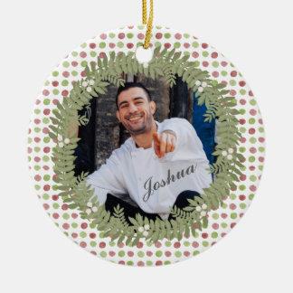 Polka Dot | Christmas Wreath Photo Ornament