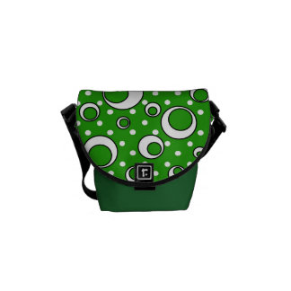 Polka Dot Circles in Green Courier Bag