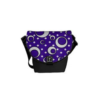 Polka Dot Circles in Purple Messenger Bags