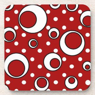Polka Dot Circles in Red Coaster