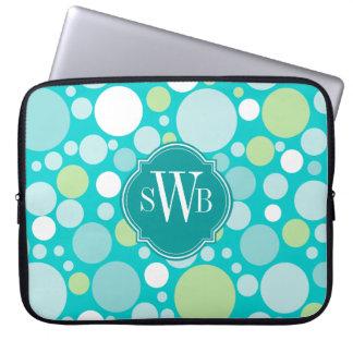 Polka Dot Crazy Pattern Monogram Personalized Laptop Sleeve