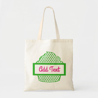 Polka dot cupcake tote in green