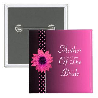 Polka Dot Daisy Pink Wedding 15 Cm Square Badge