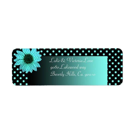 Polka Dot Daisy Teal Blue Wedding Return Address Label