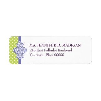 Polka Dot Damask Lime Purple Return Address Label