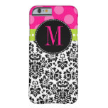 Polka Dot & Damask | Monogram Barely There iPhone 6 Case