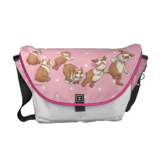 Polka Dot Dancing Bulldog Courier Bag