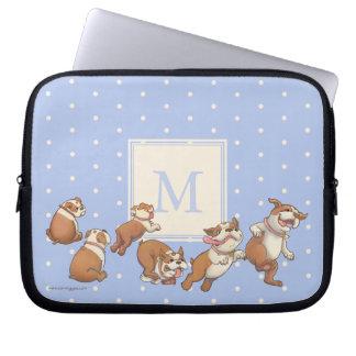 Polka Dot Dancing Bulldog Laptop Sleeve