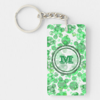 Polka Dot Distressed Green Monogram Double-Sided Rectangular Acrylic Key Ring