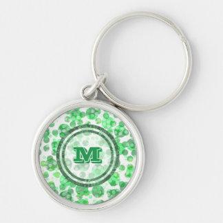 Polka Dot Distressed Green Monogram Key Ring