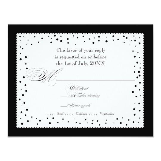 Polka Dot Dots Scallop Lace Swirl Flourish Wedding Card