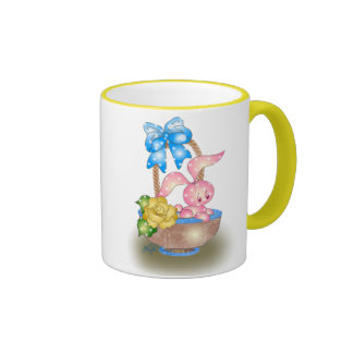 Polka Dot Easter Bunny In Basket With Rose Coffee Mugs