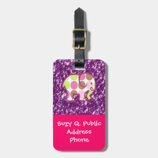 Polka Dot Elephant Sparkly Purple Girly Gifts Luggage Tag