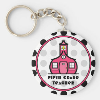 Polka Dot Fifth Grade Teacher Keychain