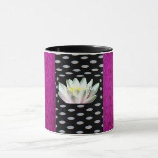 Polka Dot Floral and Fuchsia Mug