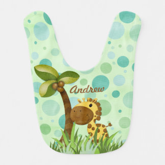 Polka Dot Giraffe Animal Theme Baby Bibs