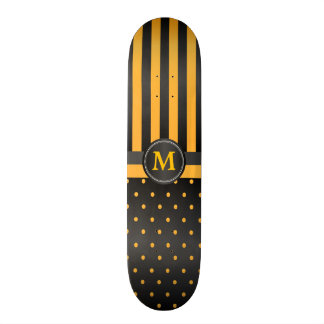 Polka Dot Golden Yellow and Black Stripes Skate Decks