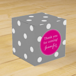 Polka dot grey and pink cute glamour modern favour boxes