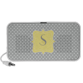 Polka Dot Grey and Yellow Monogram Mp3 Speakers
