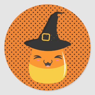Polka Dot Halloween Candy Corn Witch Stickers