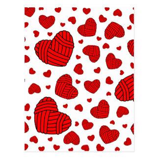 Polka Dot Heart Shaped Balls of Yarn (Red) Postcard
