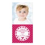 Polka Dot Hearts Pink Valentine's Day Customized Photo Card
