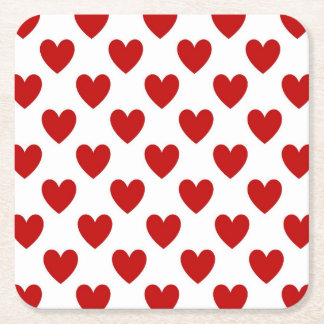 Polka Dot Hearts Square Paper Coaster