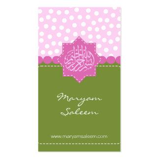 Polka dot Islam Bismillah green pink Arabic Business Cards