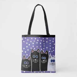Polka Dot Kitties Tote Bag