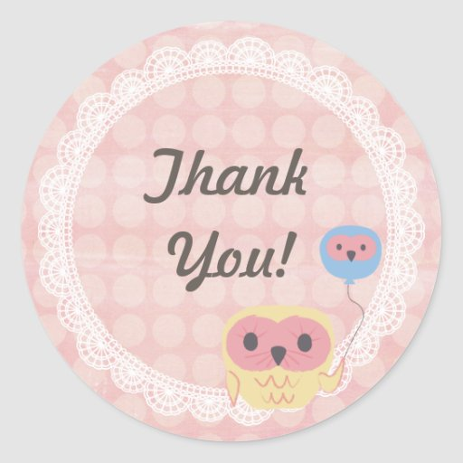 Polka Dot Lace Owl Wedding Thank You Sticker