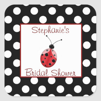 Polka Dot Ladybug Bridal Shower Sticker
