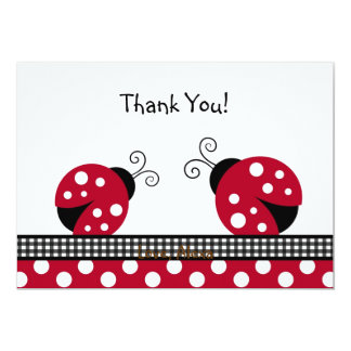 Polka Dot Ladybug Thank You Note Cards Announcement