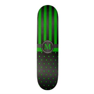 Polka Dot Lime Green and Black Stripes Custom Skate Board