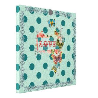 polka dot mint powder teal cute chic girly fun stretched canvas prints