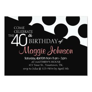 "Polka Dot Modern 40th Birthday Invite 5"" X 7"" Invitation Card"