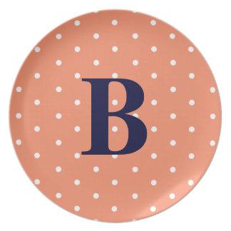 Polka Dot Monogram Melamine Plate