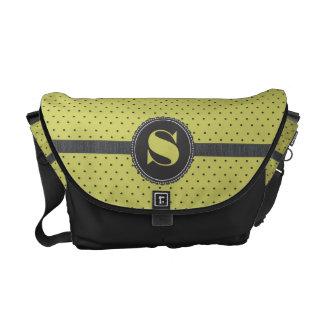 Polka Dot Monogram Ribbon in Lime Green Messenger Bag