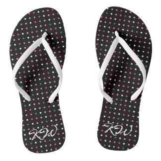 Polka Dot Monogrammed Flip Flops Thongs