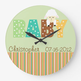 Polka Dot Multi Color Personalized Baby Clock