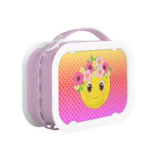 Polka Dot Ombre Flower Child Emoji Lunch Box